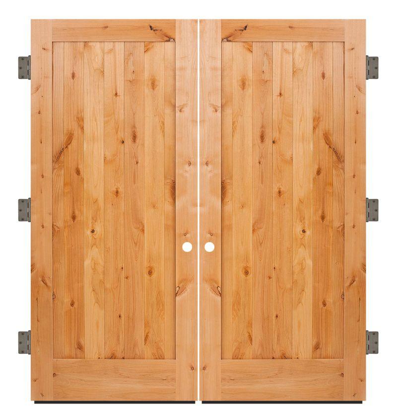 Vertical Lewiston Exterior Double Slab Door