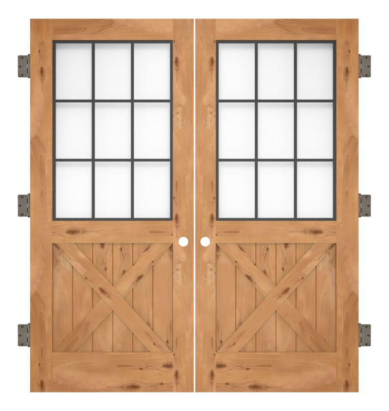 Farmhouse French Half X Interior Double Slab Door