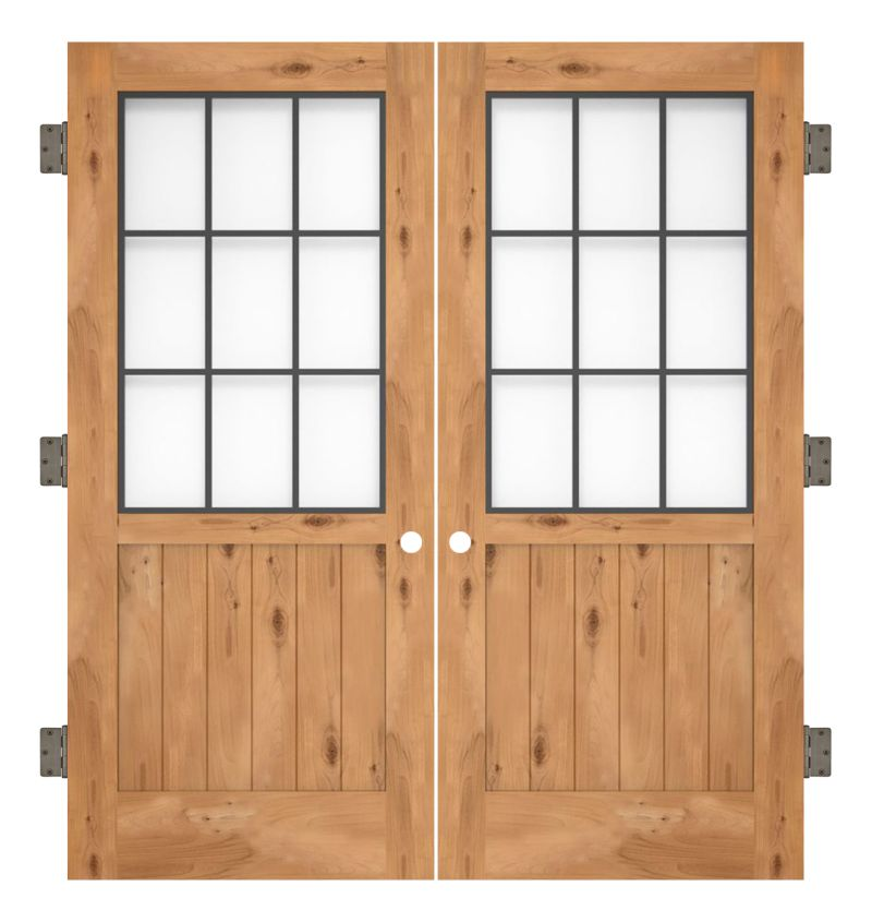 Farmhouse French Half Interior Double Slab Door
