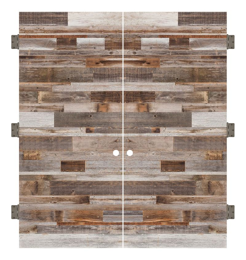Horizontal Barn Wood Interior Double Slab Door