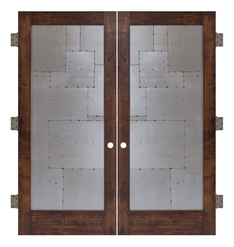 Steampunk Interior Double Slab Door