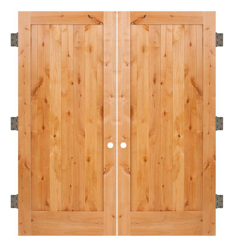 Vertical Lewiston Interior Double Slab Door