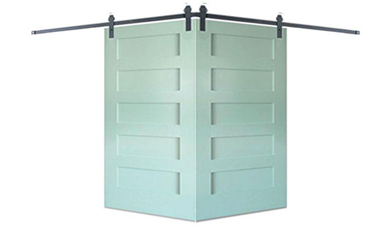 Contemporary 5 Panel Corner Barn Door