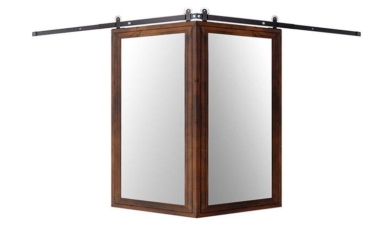 Decorative Wooden Mirror Corner Barn Door