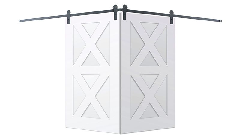 Contemporary Double X Corner Barn Door