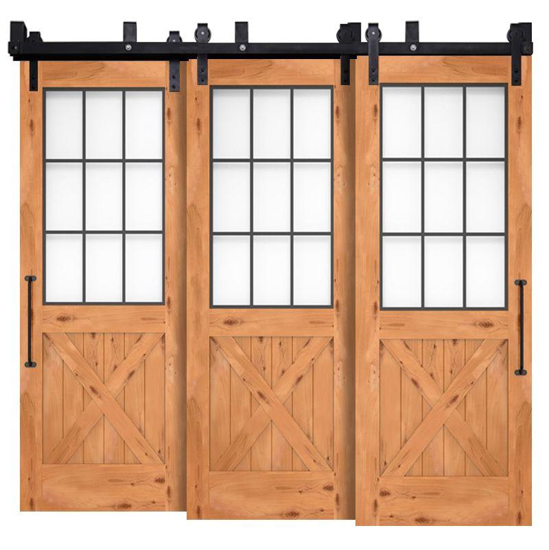 Farmhouse French Half X Triple Bypass Barn Doors