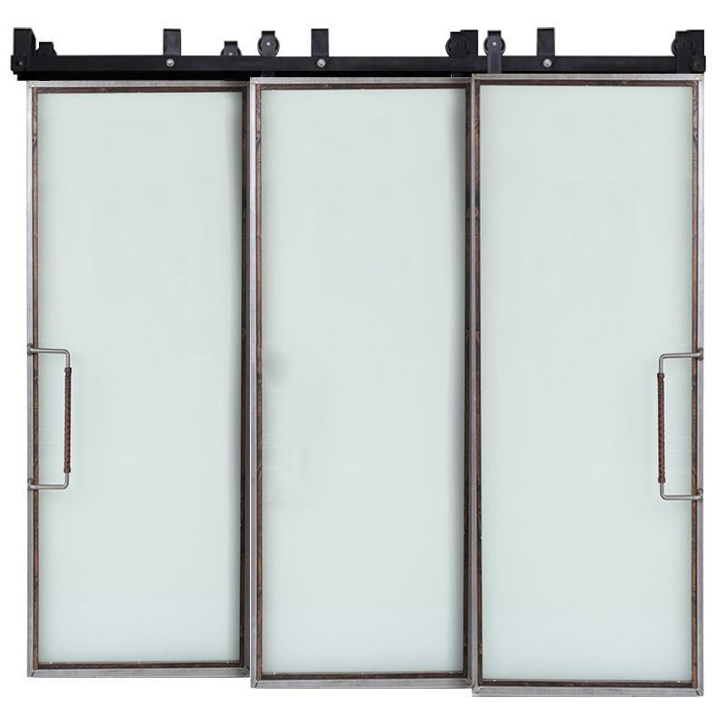 Powell Frosted Glass Triple Bypass Barn Doors