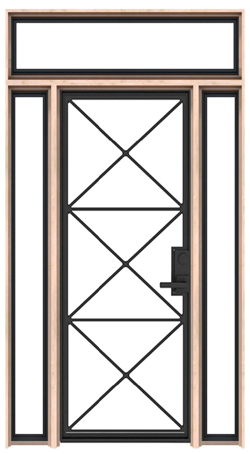 Noble Interior Door With Sidelights And Transom Window