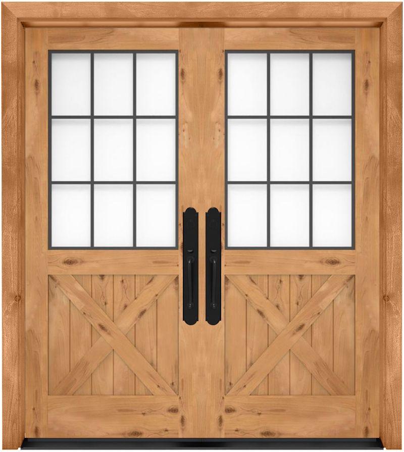 Farmhouse French Half X Exterior Double Door