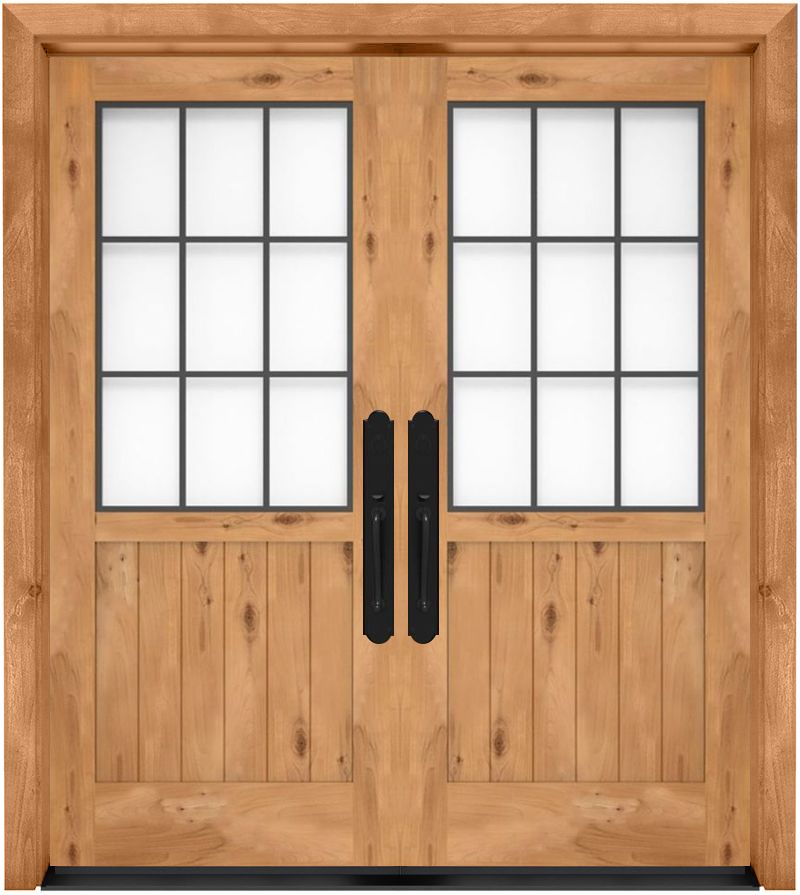 Farmhouse French Half Exterior Double Door