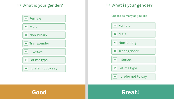 Multi-select for transgender, trans women and trans men in forms