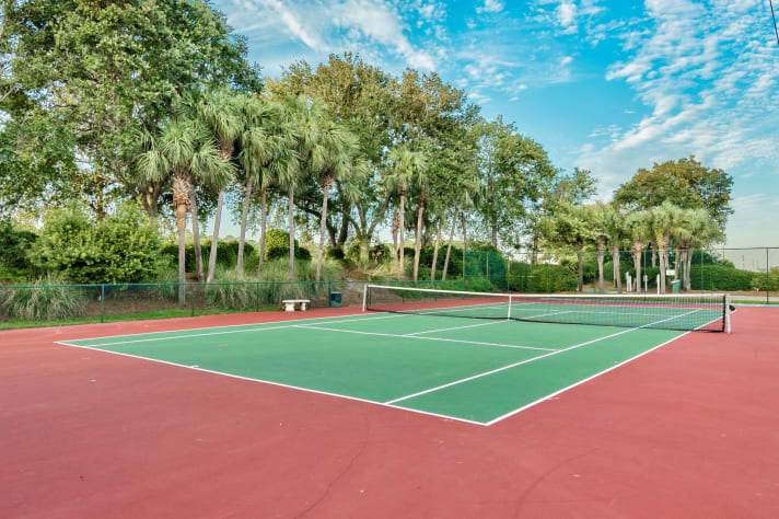 Tennis courts in Emerald Shores, easy walk.