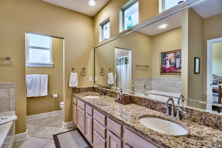 Master bathroom with so much natural light
