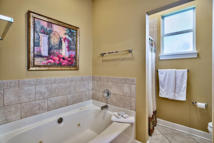 Master bathroom with separate whirlpool bath and separate shower