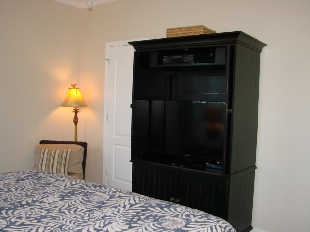 first floor  master has king bed, large flat screen tv and walk in closet