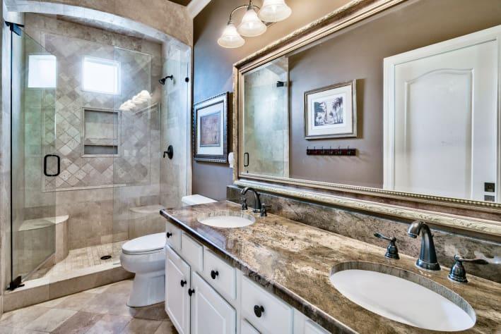 1st Floor Bathroom, Travertine shower and twin vanity sinks