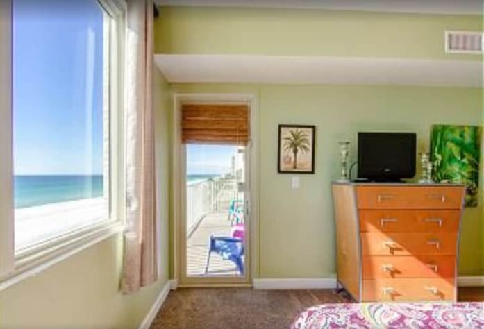 Master bedroom view and balcony access