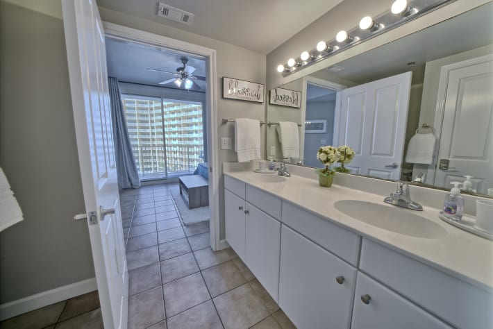 Master bath is very spacious with a double vanity.