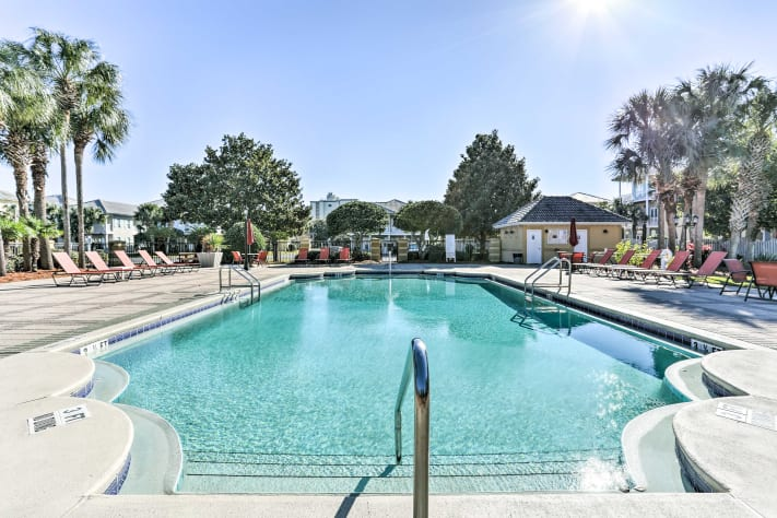 Go for a swim in the neighborhood's central large heated pool...