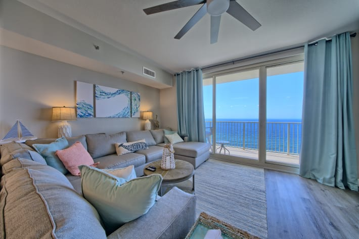 See the ocean from any place in the kitchen /living room
