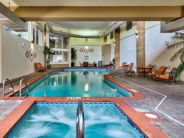 The heated indoor pool and hot tub.