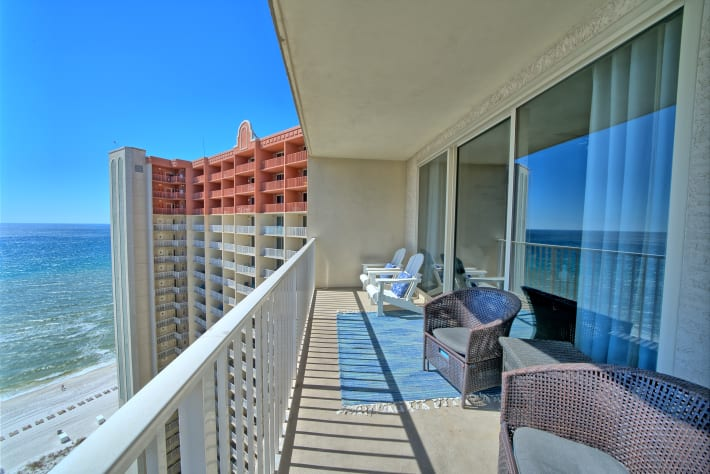 Enjoy the view of the Gulf of Mexico from this huge balcony.