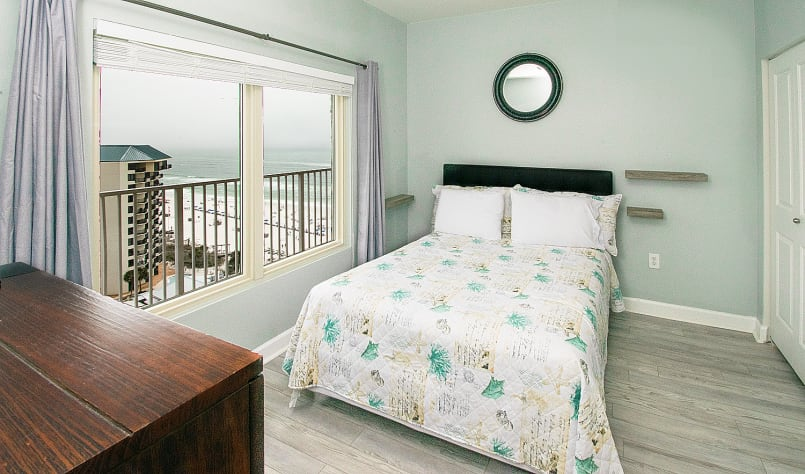 Full bedroom with gulf views