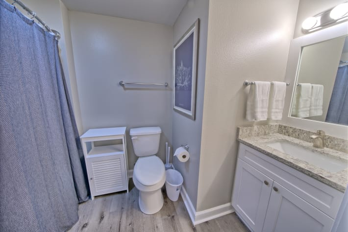 Master bath with full tub shower combo new updated vanity