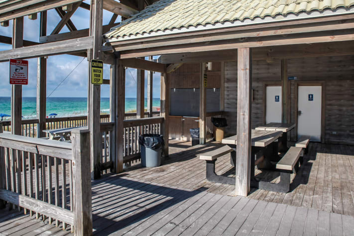 Beach side pavilion with restrooms