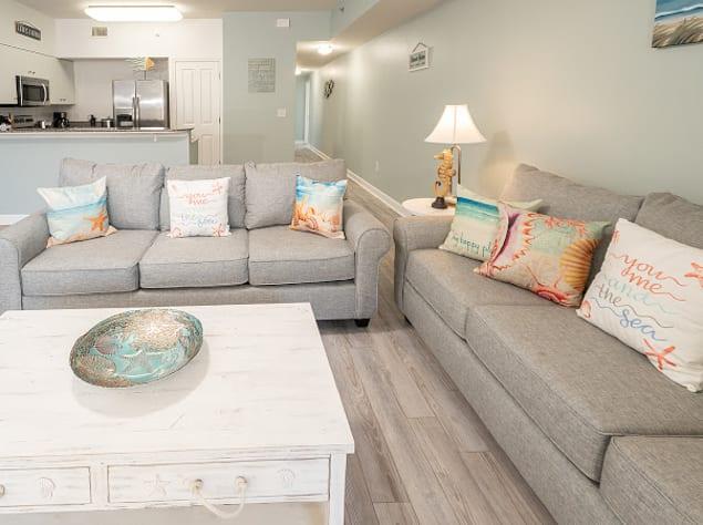 Living room with queen sleeper sofa