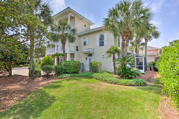 Large corner lot and greenspace allows for outdoor fun and games