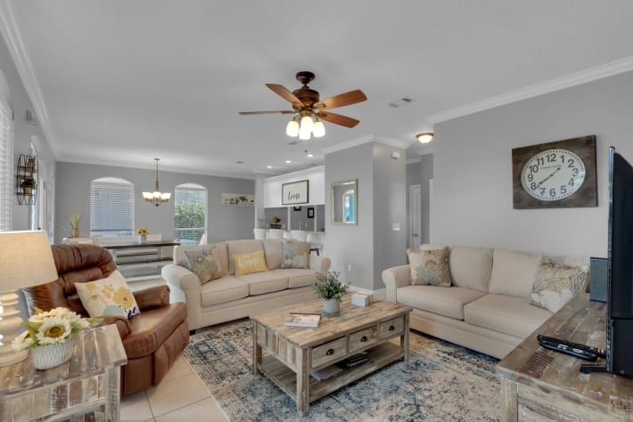 Newly furnished in Nov 2020 this living room features 2 sofa sleepers