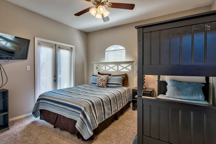 Additional View of Second Floor Queen bedroom with twin over twin bunk beds