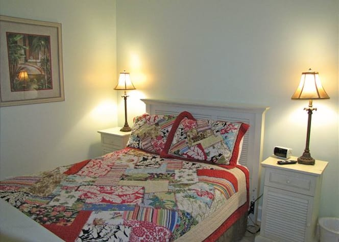 Private secluded main floor bedroom with full bath 2 steps away!