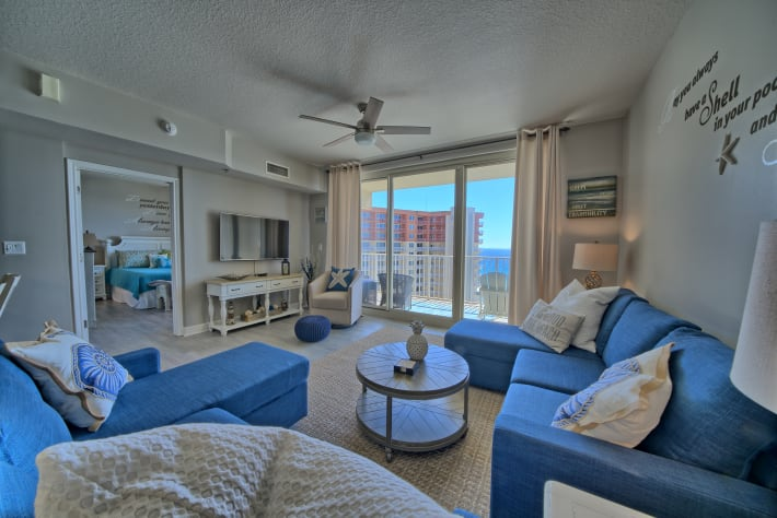 Enjoy the view of the Gulf from the comfort of the living room.