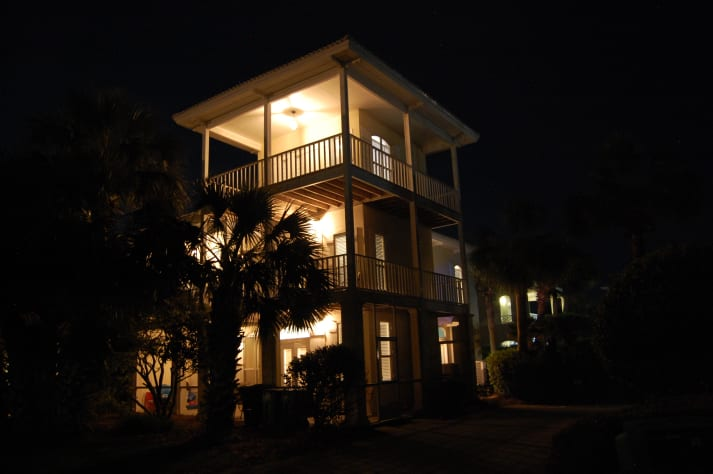 Let the warm exterior lighting welcome you back home after an exciting day out
