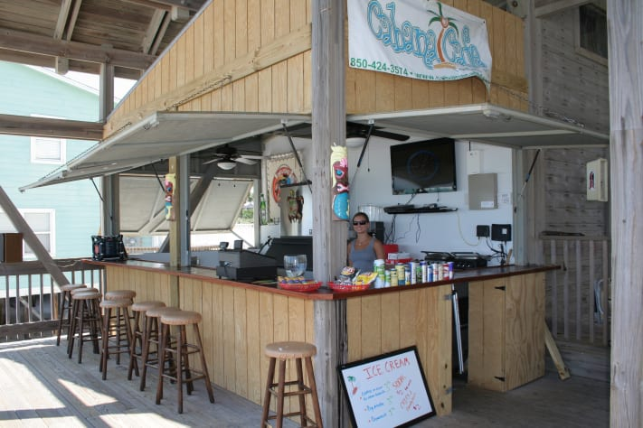 Cabana Cafe at the private pavilion. Have a snow cone or a cold beverage!