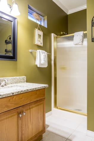 Third floor private full bath, shower updated vanity with granite