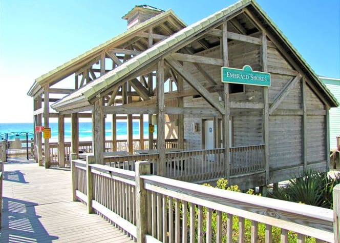 Emerald Shores beach pavilion with restrooms, showers, seasonal food service!