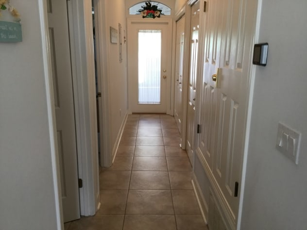 Hallway leading to backyard