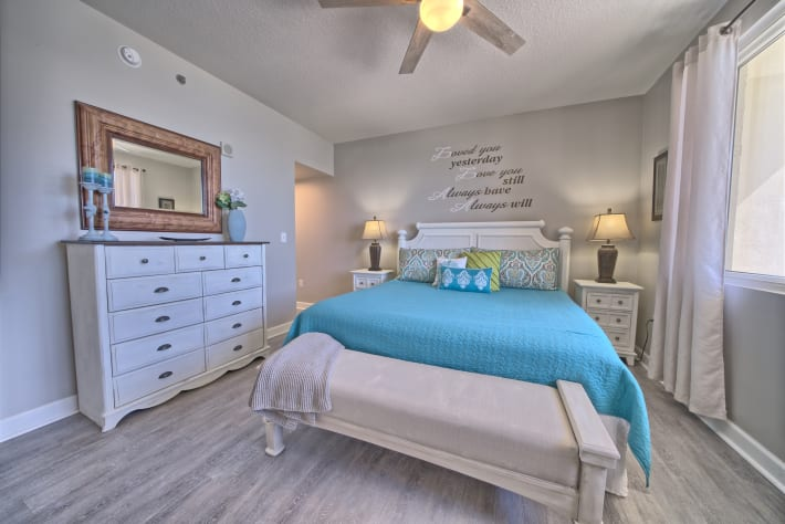 Master bedroom is very spacious with lots of storage.