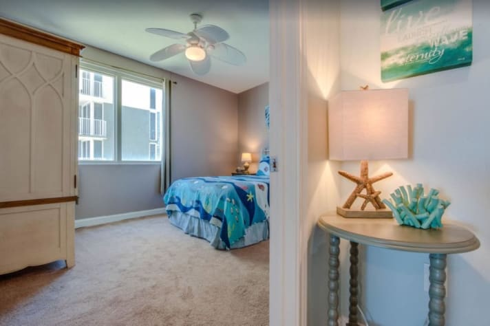 This bedroom also has a beach view