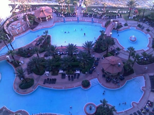 View of the pool from upstairs