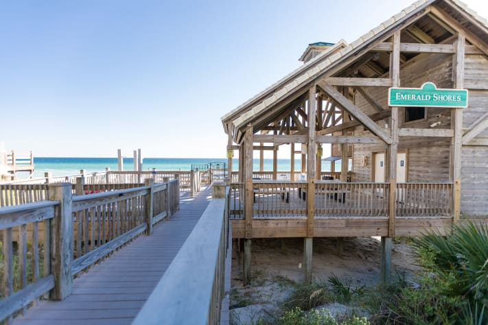 One of a kind beach pavilion offers bathrooms, snack bar, rinse showers, tables