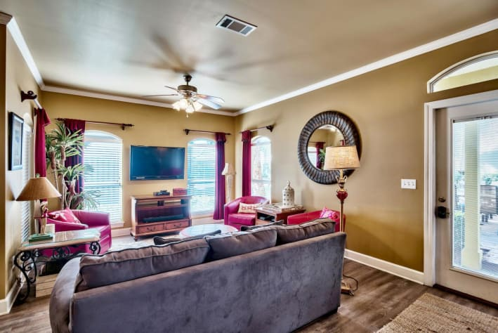Coconut Cove at Emerald Shores - Living Area w/ HDTV and Queen Sleeper Sofa