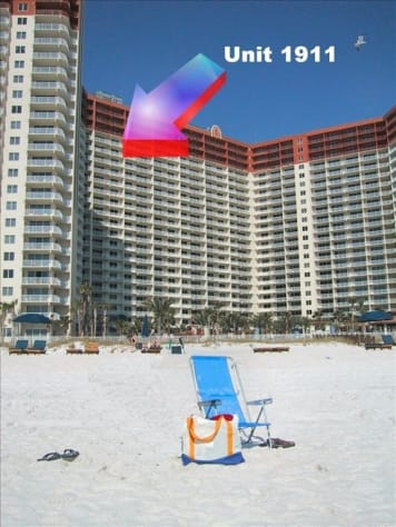 View from the beach of Unit 1911. The only thing missing from this picture is you!