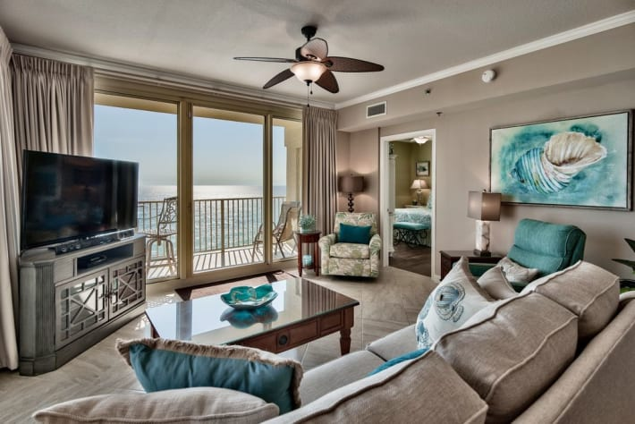 Beautiful large living room with views