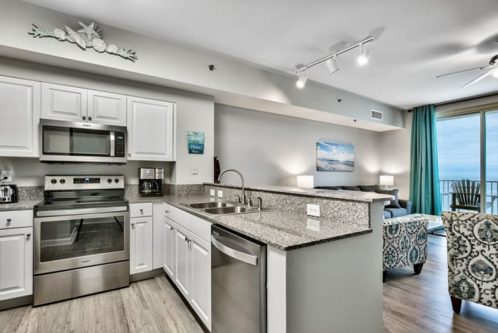 All new kitchen with granite countertops, stainless steel appliances, and new small appliances.