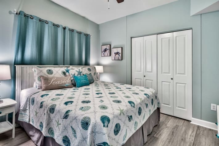 Master bedroom with King size bed and new beautiful decor throughout