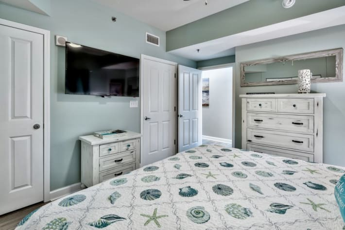 Flat screen TV, all new furniture, and decor in Master bedroom